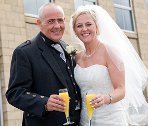 Bride and Father outside Horizon Hotel